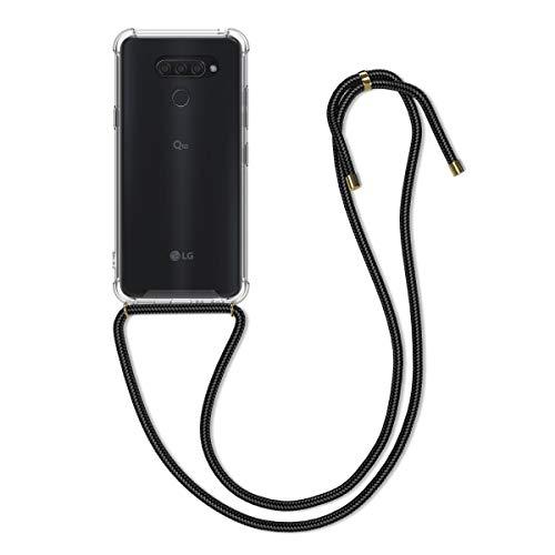 kwmobile Carcasa con Cuerda Compatible con LG Q60 - Funda Transparente de TPU con Cuerda para Colgar en el Cuello