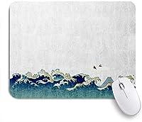 ECOMAOMI 可愛いマウスパッド 和風海の背景 滑り止めゴムバッキングマウスパッドノートブックコンピュータマウスマット
