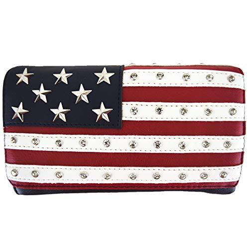 WESTERN ORIGIN Amerika-Flagge, Sterne und Streifen, Westernland-Geldbörse, 1 Schultertasche, für Frauen, mit Handgelenk, Geldbörse, (Red White Navy), Large