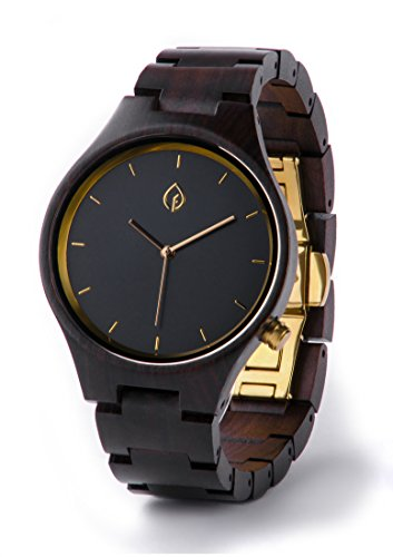 Mens Personalized Wooden Watch Custom Wood Watches Engrave Engravable Groomsmen Gift Engraved Boyfriend Father Wedding Anniversary for Men engraveable (Gold)