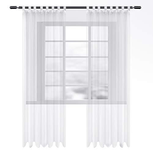 WOLTU VH5901ws-2, Gardinen transparent mit Schlaufen 2er Set, Stores Vorhang Schal Voile Tüll Wohnzimmer Schlafzimmer Landhaus, Weiss 140x245 cm