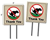 Oakley Graphics 2 Signs, No Pooping, Dog Poop Yard Sign, Thank You Large (8'x8' - 2-Sided)