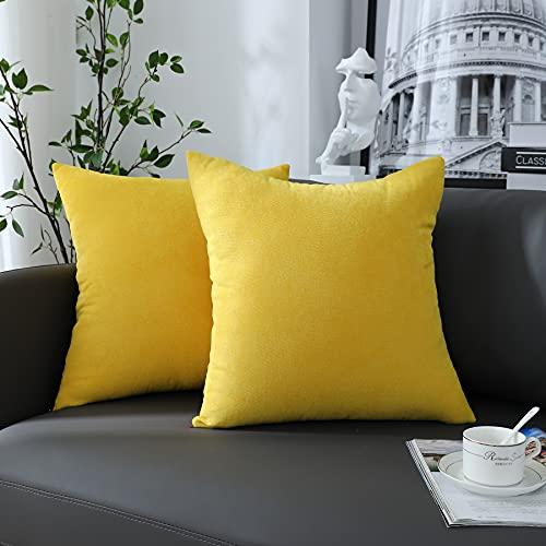 Juego de 2 fundas para cojín de 40 x 40 cm, color amarillo, suaves y rectangulares, fundas para cojín, decorativas rústicas, sólidas, para la decoración doméstica, salón, dormitorio, sofá, lavable
