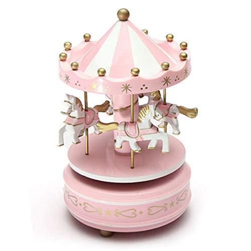 Carrousels - SODIAL(R)Manege chevaux musical bois carrousel boite a musique jouet jeu pr enfant bebe rose