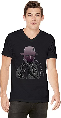 Graphic Q Illustration T-shirt col V pour hommes Small