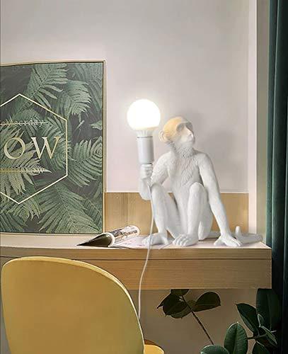Lampada da scrivania scimmia luce led attacco E27 bianco in resina lume da tavolo comodino camera animali abajour stile design moderno