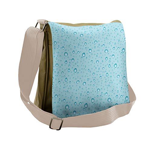 Ambesonne Aqua Messenger Bag, Water Drops Oceanic Naval, Unisex Cross-body