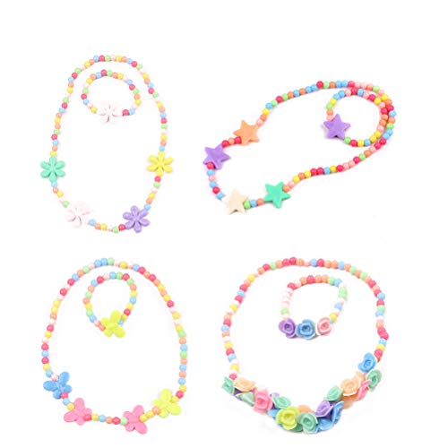 TOYMYTOY Colorée Fleur Collier et Bracelet Ensemble pour Les Petites Filles Enfants Bijoux Accessoire,4 Ensembles