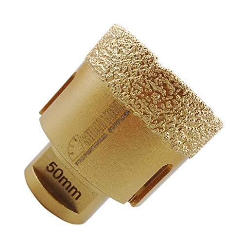 SHDIATOOL Broca de Diamante 50MM Vacío Soldadura para Perforación en Seco Porcelana Azulejo Granito Mármol M14