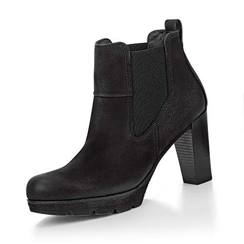 Paul Green Damen Plateau-Stiefelette, Frauen Chelsea Boots, weiblich Lady Ladies feminin elegant Women's Women Woman Freizeit,Schwarz,7 UK / 40.5 EU