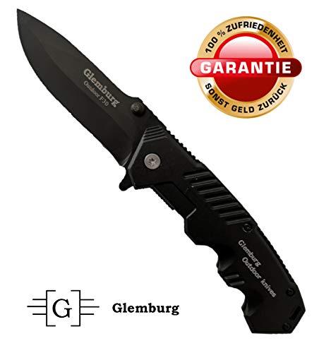 Glemburg Klappmesser | Outdoor Messer F30 | Jagdmesser | Taschenmesser | Einhandmesser | Überlebensmesser | Campingmesser | Angelmesser | Edelstahl Schwarz