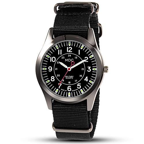 Herrenuhr Armbanduhr Uhren Männer Militär Uhr Herren Leuchtende analog Schwarz Fliegeruhr Arbeitsuhr Tactical Watch mit NATO Nylonband by MDC