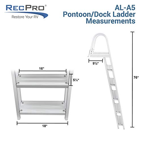 RecPro 5 Step Removable Boarding Boat Ladder | AL-A5 | Marine Pontoon Boat Dock | Heavy Duty Aluminum