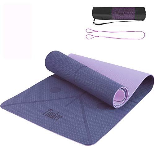 Timker Tappetino Yoga Tappetino per Il Fitness Tappetino per Esercizi TPE Materiale Ecologico per Body Building Fitness con Linea di Posizione con Tracolla e Borsa 183 * 61 * 0.6cm (Viola)