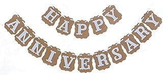 jijAcraft 11 x 13 CM Happy Anniversary Bunting Banner, Guirnalda del banderín, decoración Elegante lamentable del paño del Vintage para Las Ceremonias del Aniversario de Boda