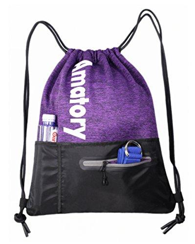 Gym Drawstring Backpack String Bag Men Women Workout Dance Sack Pack Sackpack (Water Bottle Pocket Purple)
