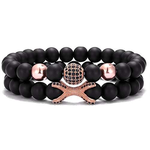 RJGOPL Fashion Armband 8 mm stenen parels 10 mm micro-zirkonia disco bal bedel vriendschapsarmbanden voor mannen en vrouwen sieraden cadeau roségoud