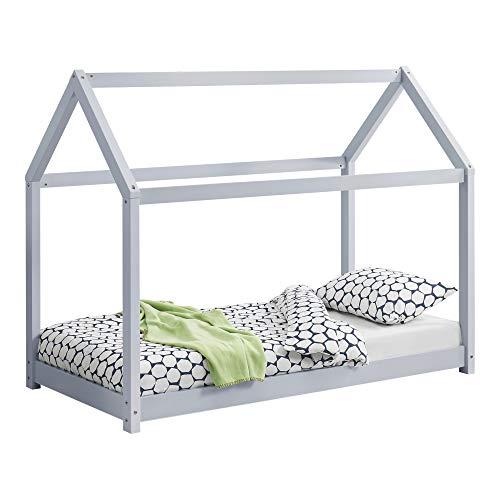 [en.casa] Kinderbett 70x140cm Bettenhaus Hausbett Kiefernholz Kinderzimmer Bett Hellgrau