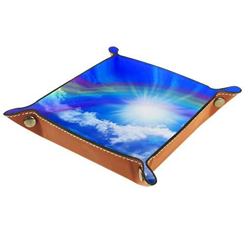 Bandeja de Valet Organizador de Escritorio Caja de Almacenamiento Arco Iris de Cuero bajo el Cielo Bandeja de Recogida para Uso doméstico