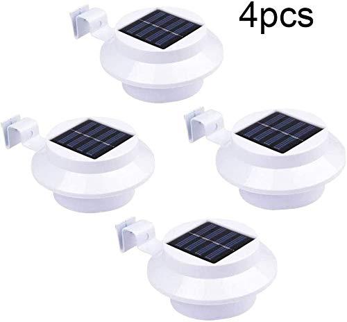 4Pcs LED Solarlampe für Dachrinnen schwarz Außenlampe Dachrinnenleuchte mit Bewegungsmelder - Wasserfest mit 3 LED [Energieklasse A++] für Garten, Gartenhaus und Werkstatt