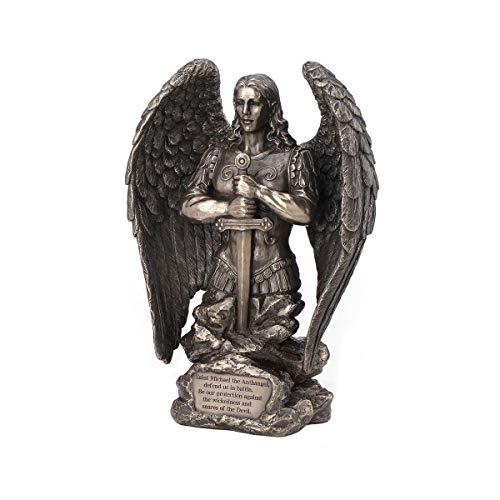 Figura Decorativa Mitológica de Resina Bronce San Miguel Orando. Adornos y Esculturas. Decoración Hogar Clásica. Regalos Originales. 16 x 7 x 22 cm.