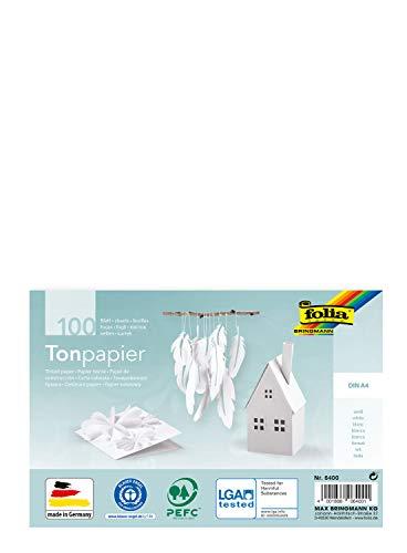 Preisvergleich Produktbild folia 6400 - Tonpapier weiß,  DIN A4,  130 g / qm,  100 Blatt - zum Basteln und kreativen Gestalten von Karten,  Fensterbildern und für Scrapbooking