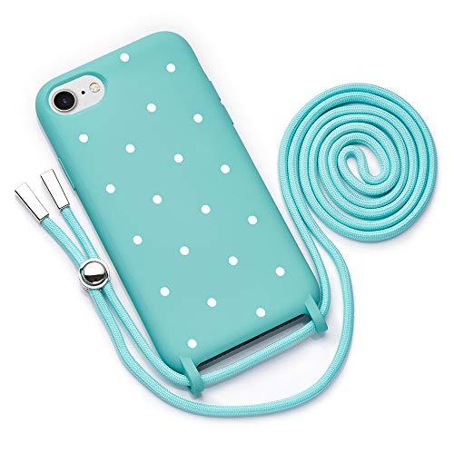 QULT Funda con Cuerda Compatible con iPhone 6 /6s Plus, iPhone 7/8 Plus Carcasa de movil con Colgante Cadena Suave Silicona Necklace Bumper Turquesa Motivo Puntos Blancos