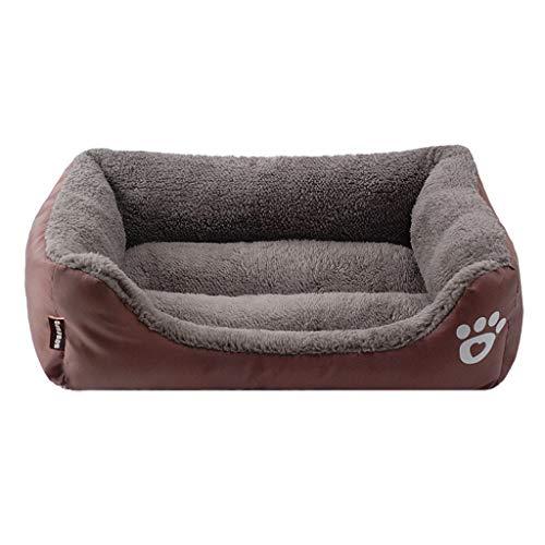 BaojunHT Hundebett aus weicher Baumwolle, kuscheliges Fleece-Kissen, maschinenwaschbar, hohe Seiten, S-XXXL für kleine, mittelgroße und große Haustiere (Kaffee, XXL)