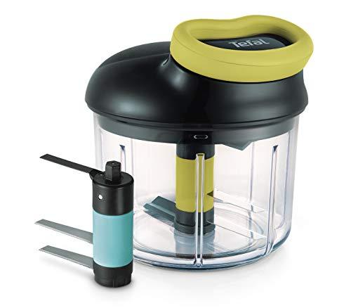 Tefal K13212 Ingenio 5-Sekunden-Zerkleinerer ohne Strom, inkl. Eiscrusher; Fassungsvermögen: 900 ml; Universalzerkleinerer für Gemüse, Obst, Zwiebeln, Nüsse, Knoblauch, Babynahrung, schwarz/grün