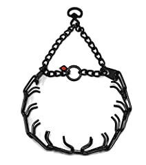 BLACK STAINLESS STEEL PRONG COLLAR. This model come with Swivel for leash attachment: Size Small 3.2mm x 23 inches long (overall collar length) REMOVABLE LINKS: Slightly beveled prong tips. Interlocking links, each link equipped with two blunt prongs...