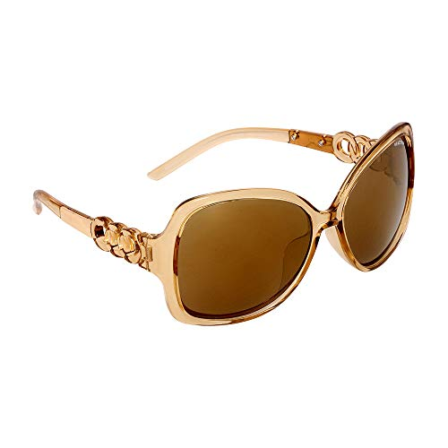 Kenneth Cole Reaction Plastic Frame Brown Flash Gold Mirror Lens Ladies Sunglasses KC12526127G