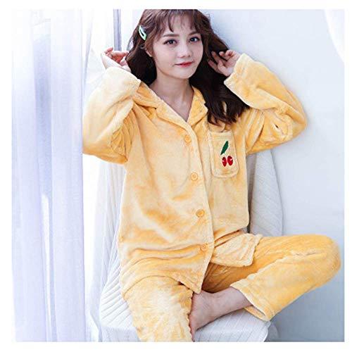 ZWXPILLOW Dickes Flanell-Pyjama-Set, Modernes Einfaches Korallenvlies Winter Warm Halten Nachthemd Frühling Herbst Hauskleidung