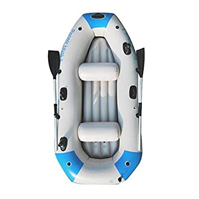 Kayak Series, 3 Person Kayak, Inflatable Kayak Set with Oars and High Output Air Pump (Blue) 90.5 ? 51 ?14 in,Deluxe Edition