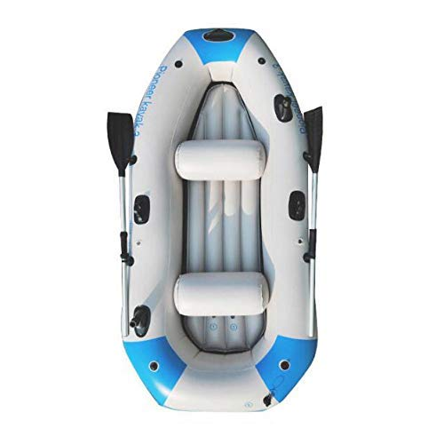 Kayak Series, 3 Person Kayak, Inflatable Kayak Set with Oars and High Output Air Pump (Blue) 90.5 ✕ 51 ✕14 in,Deluxe Edition