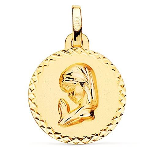 Medalla oro 18k Virgen Niña 16mm. lisa redonda detalle cerco cruces talladas - Personalizable - GRABACIÓN INCLUIDA EN EL PRECIO