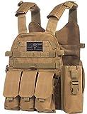 Tactical PALS Molle Airsoft Paintball Vest with Side Cummerbund, Mil Spec 1000D Modular w/Triple Mag Pouch, IFAK (Coyote Brown)