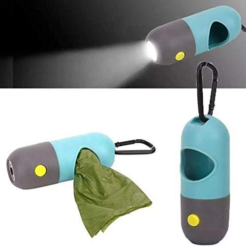 Dispensador recogedor porta rollo bolsas linterna luz LED integrada mosquetón aluminio para residuos color gris para caminar incluso de noche