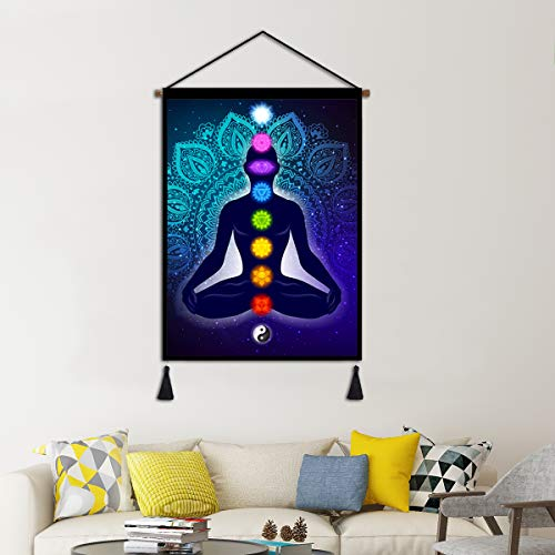 Yoga Meditation Studio Hanging Poster, Indian Seven Chakra Buddha Canvas Wall Art, Linen Tapestry Scroll with Tassels for Studio Office Home Decoration 18X24 Inch