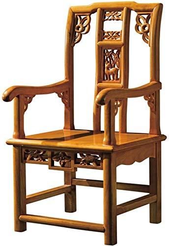 Silla de ordenador ergonómica de escritorio china Ming y Qing de madera maciza envejecida tallada, silla de comedor (tamaño: 1)