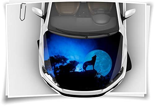 Medianlux Motorhaube Auto-Aufkleber Wolf Vollmond Heulen Alpha Wildnis Nacht Steinschlag-Schutz-Folie Airbrush Tuning Car-Wrapping Luftkanalfolie Digitaldruck Folierung