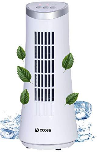Turm Tischventilator | Oszillierend | 2 Stufen | Sehr leise | Tolles Design | Luftkühler | Kleiner Ventilator | Fan | Windmaschine | Ventilator | Miniventilator (Whistle White)