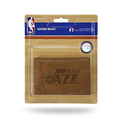 NBA Rico Industries  Leather Trifold Wallet with Man Made Interior, Utah Jazz