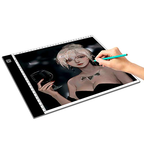 A4 LED Light Box Led Light Pad with Ultra-Thin Adjustable Brightness USB Power,LED Copy Board for Tattoo,Drawing,Streaming,Sketching,Animation,Three gear dimming
