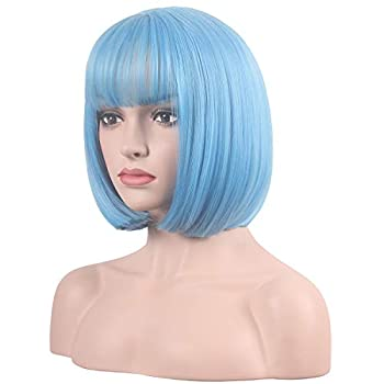 wildcos Short 14 Inches Straight Synthetic Cosplay Wig for Women  light blue