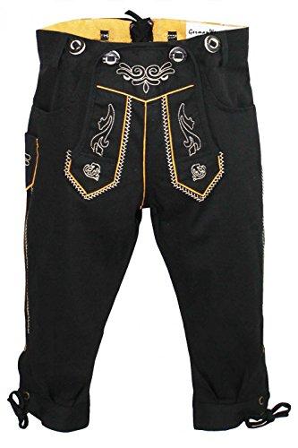 German Wear Jungen Kniebundhosen Kinder Hose Jeans Hose kostüme mit Hosenträgern, Farbe:Schwarz, Größe:152