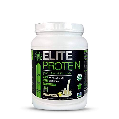 Elite Protein - Organic Plant Based Protein Powder, Vanilla, 25 Grams of Pea and Hemp Protein - 14 Servings - Muscle Recovery and Meal Replacement Shake, USDA Organic, Non-GMO, Dairy-Free - Vegan