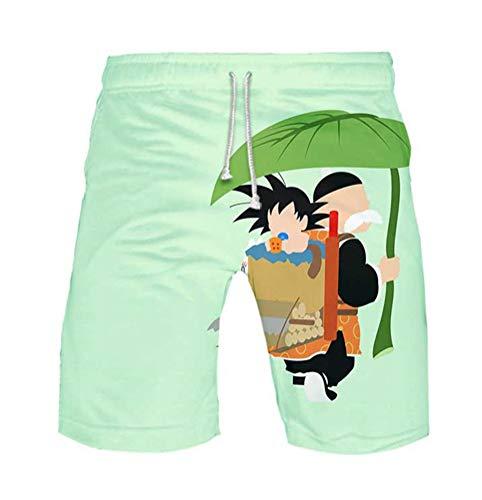 WANHONGYUE Anime Dragon Ball Z Goku Herren Badehose Strand Shorts 3D Druck Sommer Beach Shorts Boardshorts Swim Trunks 1115/10 L