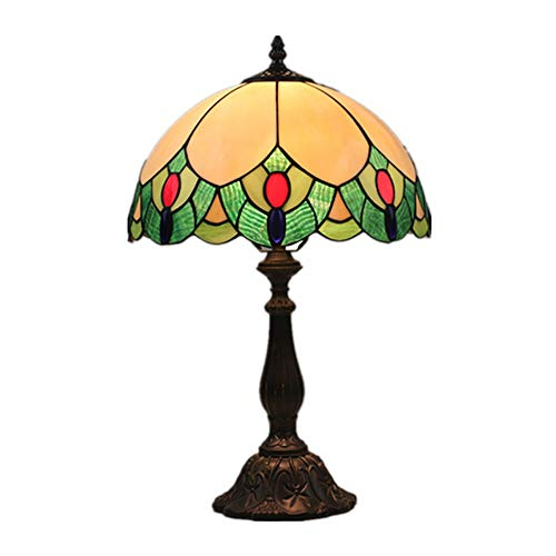 FYMDHB886 lamp van gekleurd glas, Tiffany-stijl, tafellamp van kersenhout, leeslamp, eenvoudig nachtkastje, woonkamer, slaapkamer, cadeau, handgemaakt