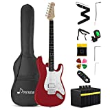 Donner DST-102R 39 Inch Electric Guitar Beginner Kit Solid Body Full Size Red HSS Pick Up for Starter, with Amplifier, Bag, Digital Tuner, Capo, Strap, String,Cable, Picks
