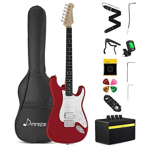 Donner E-Gitarre Set 39 Zoll mit Tasche, Capo, Gurt, Saiten, Kabel und Plektren (Schwarz, DST-1B)